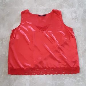 Red satin lace trim tank top plus size 28 W